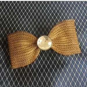 Vintage metal and rhinestone bow hair clip